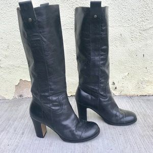 VINTAGE black leather BOOTS tall 7